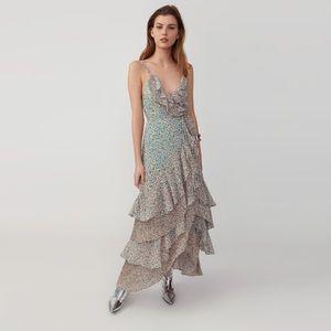 Pleated Ruffle Wrap Dress